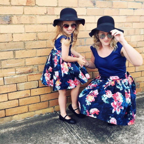 Family Matching Outfits Mother & Daughter Adult Women Kids Girls Backless Floral Lace Summer Party Dress