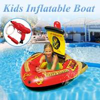 Pirate Water Inflatable Boat Swim Floating Row Bed Beach Swimming Pool Kids Toy Environmental Open Bottom Seat Children Boy