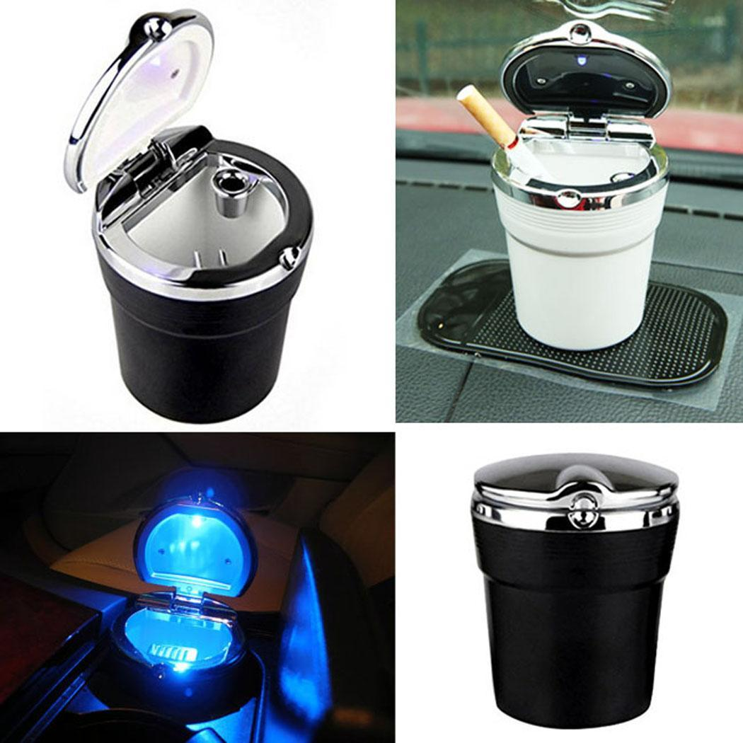 Luxury Car Ashtray with LED Light Cigarette Smoke Travel Remover Ash Cylinder Car Smokeless Smoke Cup Holder Auto Accessories in Car Ashtray from Automobiles Motorcycles