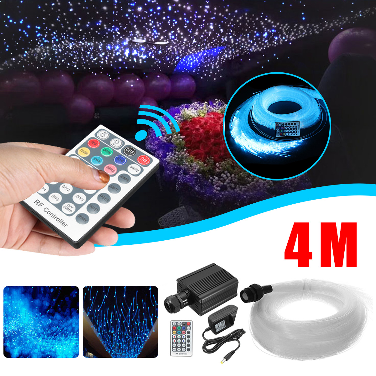 28 Key Wireless RF LED Fiber Optic Twinkle 16W RGBW Engine 4mx0.75mmx250Pc+15x1mm+Crystal Optical Fiber Starry Sky Ceiling Light