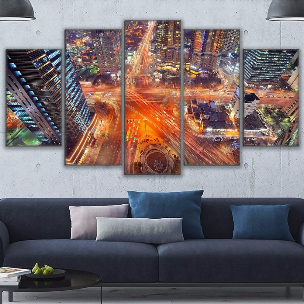 Canvas Printed Seoul Korea At Night PaintingsWall Art 5 Panel Scenic Overhead Cityscape Poster Home Decorative Living Room