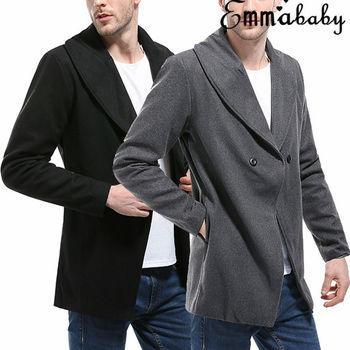Hirigin Brand Men Business Coat 2018 Hot Fashion Warm Men's casual Coat Winter Trench Coat Overcoat Slim Long Jacket фото