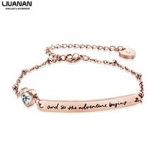 Rose Gold Bracelet Teen Girls ID bracelet Jewelry Graduation Gift for Her Women Sister Daughter Friendso the adventure begins