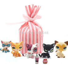 5 Pcs bag Rare font b pet b font shop lps toys littlest short hair cat