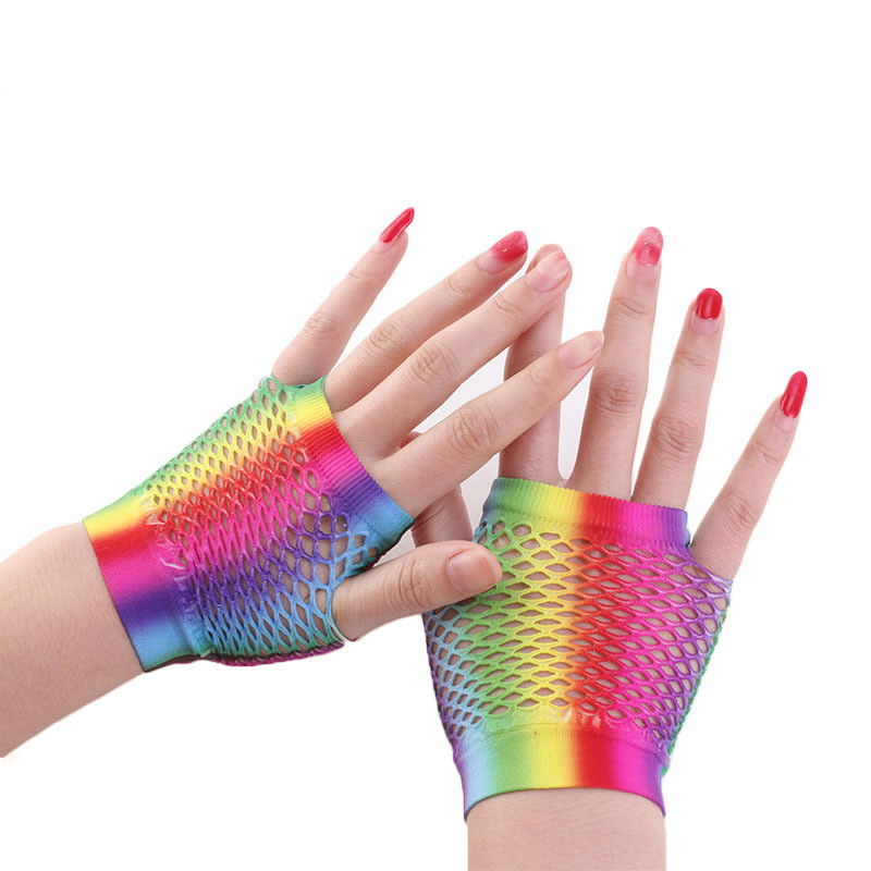 2019 Fashion Short Gloves For Women Rainbow Colors Nylon Hollow Out Fishing Net Shorties Party Gloves Hand Ornaments For Bride