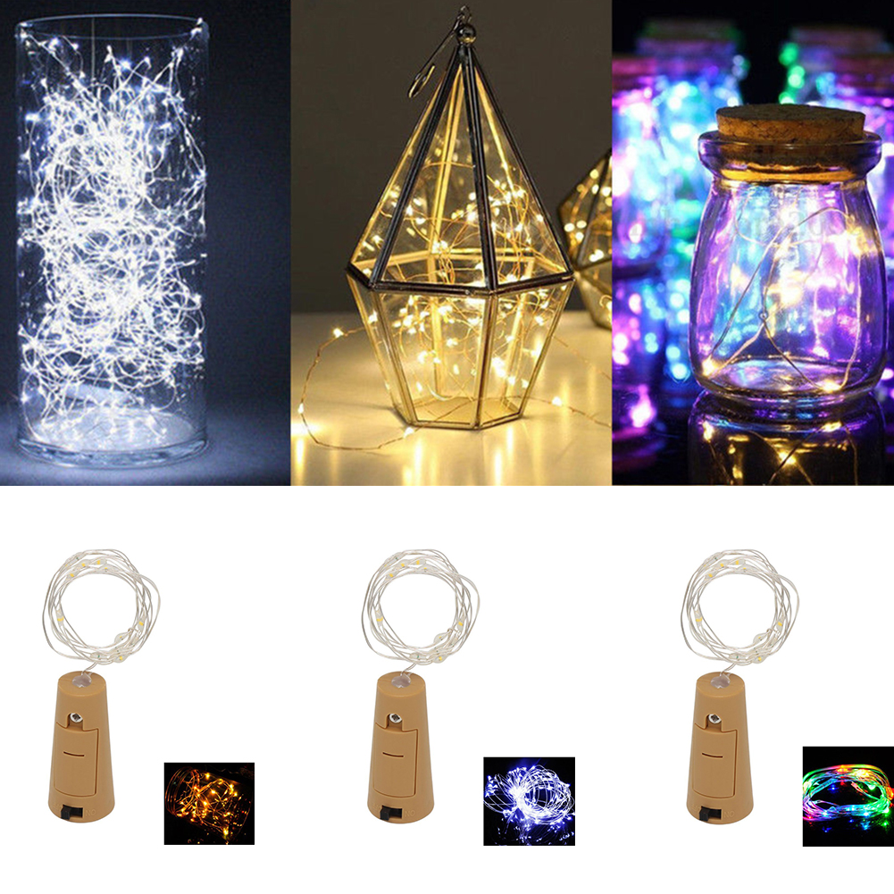 2M 20 LED IP65 Waterproof Flexible Copper Wire String Lights For BBQ Wedding Wine Bottle Stopper DIY Holiday Decor