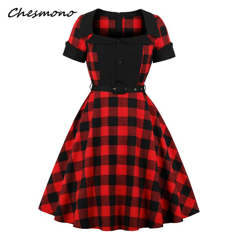 1950s Hepburn Style Christmas Red And Black Plaid Swing