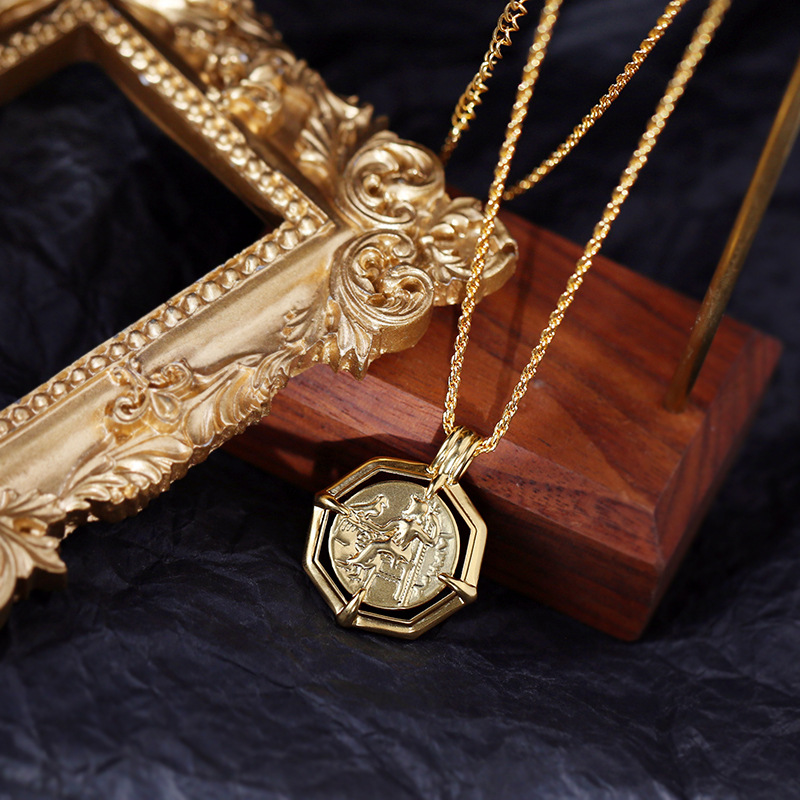 4037fdbad40a9 Retro Roman coin necklace female European and American gold coin long  sweater chain polygonal round card coin necklace