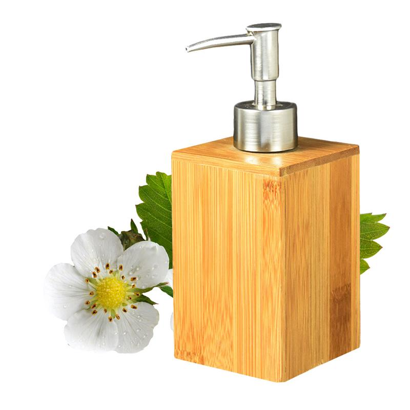 Bamboo Soap Dispenser Lotion Sanitizer Storage Bottle Squeeze Press Bottle Shower Gel Shampoo Bath Container Bathroom Accessory