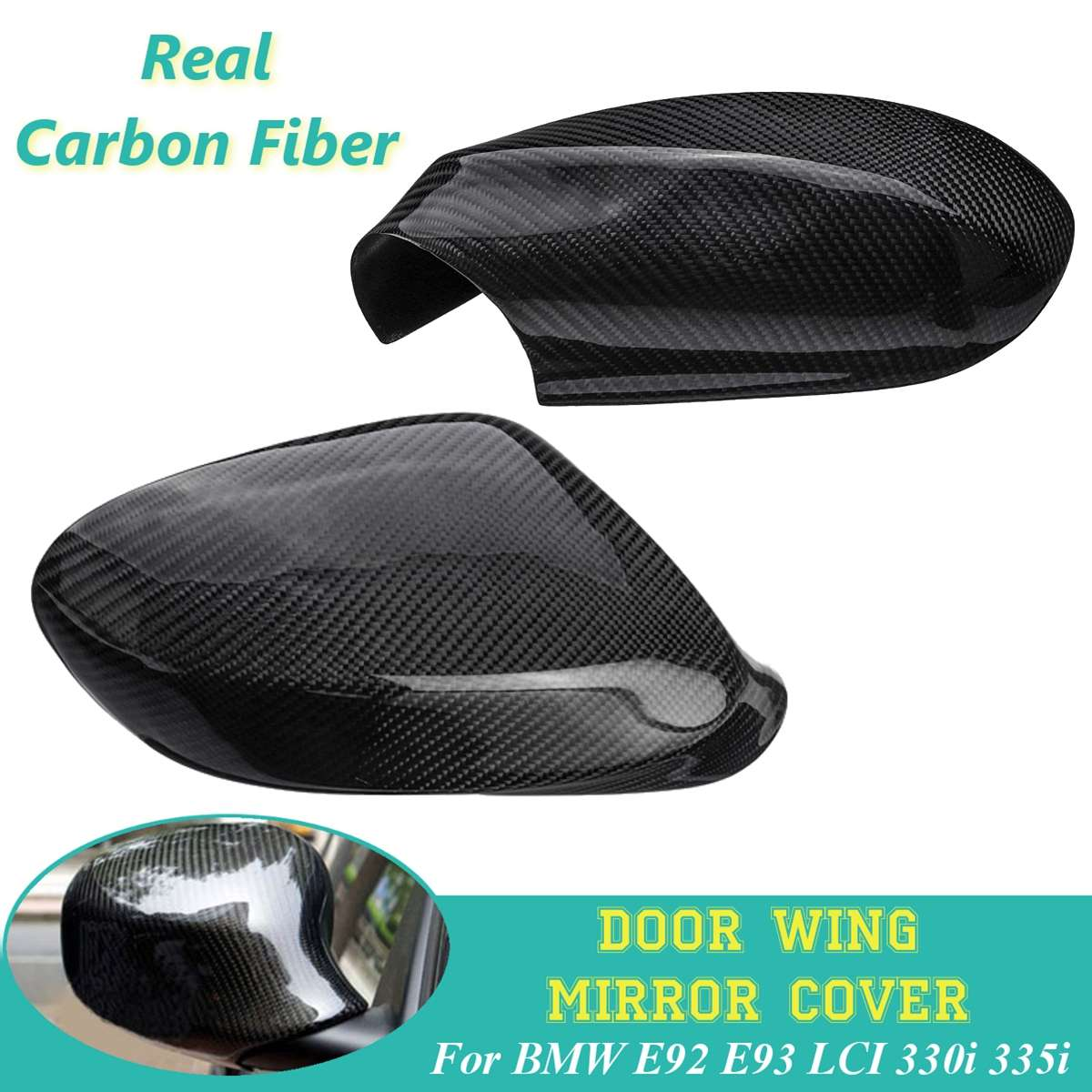 Mirror Cover Cap For BMW E92 E93 LCI 325i 328i 335i 2009 2010 2011 2012 Black Real Carbon Fiber Auto Car Rearview Side Wing