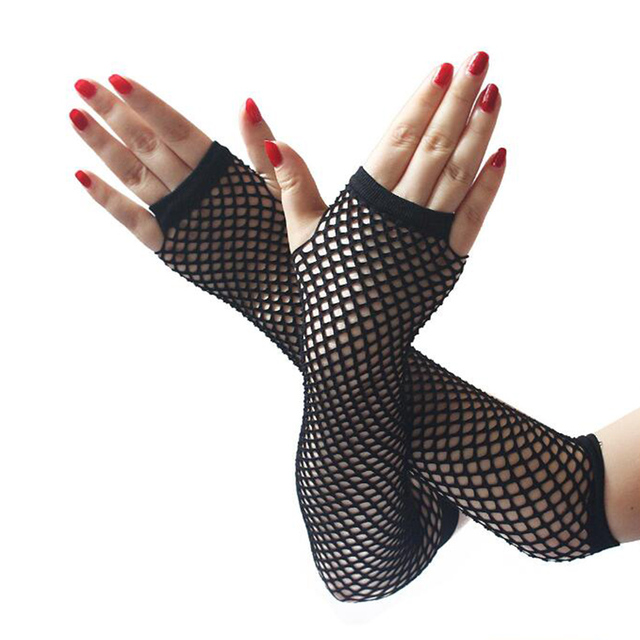 hot sale  summer Lady lace Mesh Fishnet Gloves Women Sexy Disco Dance Fingerless Gloves Women's Long Mittens Black Spring 1