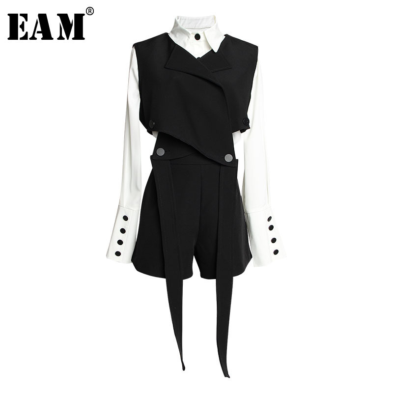 EAM 2019 New Spring Summer Lapel Long Sleeve Black Vest Ribbon Loose Wide Leg Shorts