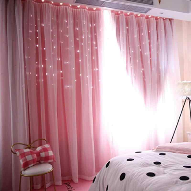 Hollowed Out Star Shading Window Blackout Curtain Drapes Purdah for Living Room Princess Children Room Baby Kid's Room Curtain