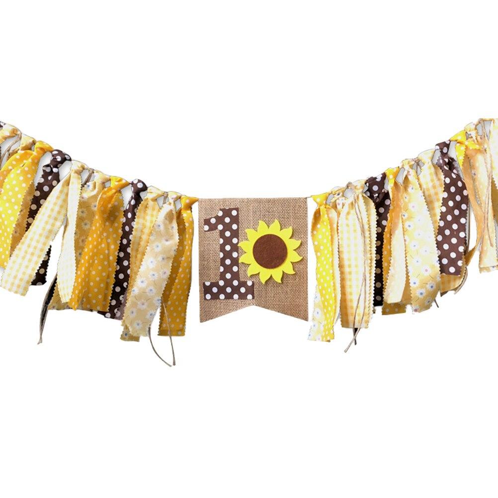 1 Pc Baby Dekorative Sonnenblumen Anzahl 1 Geburtstag Party Sackleinen Hochstuhl Banner Für Baby Dusche Geburtstag Senility VerzöGern