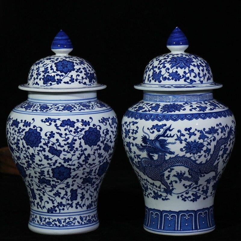 Chinese Style Antique Imposing Ceramic Ginger Jar Home Office Decor Blue And White Porcelain Vase