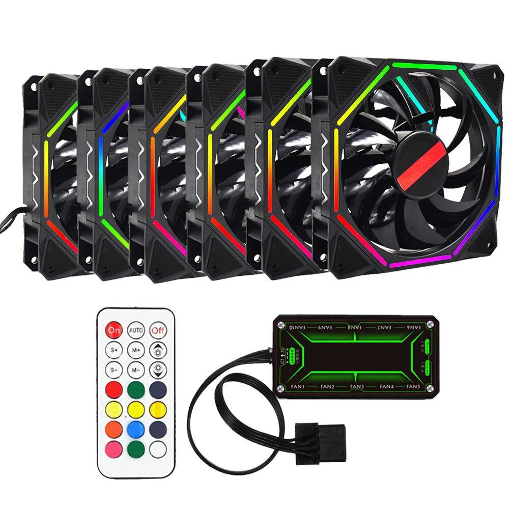 6 pièces coque d'ordinateur PC ventilateur de refroidissement RGB ajuster LED 120mm silencieux + IR refroidisseur à distance refroidissement RGB boîtier ventilateur CPU pour ordinateur de bureau