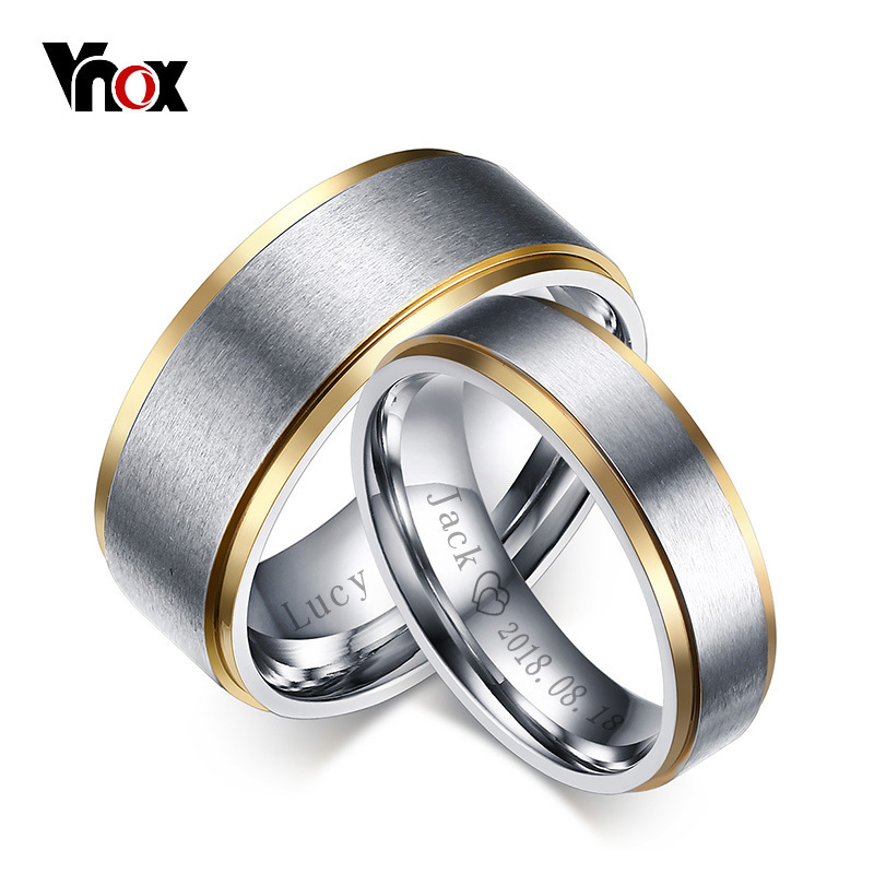 Vnox Couple Rings Jewelry Wedding-Bands Stainless-Steel Customize Elegant Women Lovers