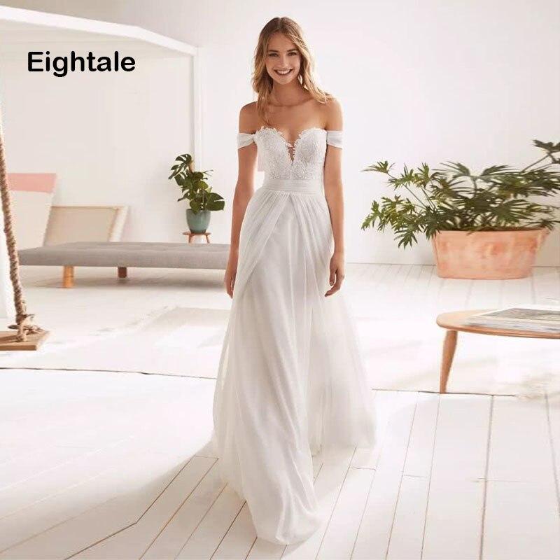 Eightale Boho Wedding Dress Off The Shoulder Beach Sweetheart Appliques Chiffon Bridal Dress Wedding Gowns robe
