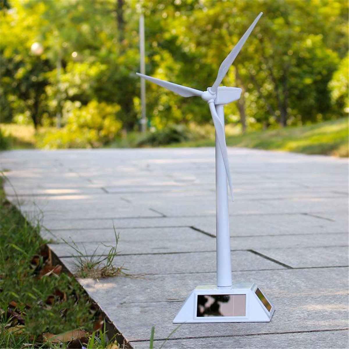 2 trong 1 Trắng Gió Mặt Trời Máy Phát Điện và Triển Lãm Đứng Cối Xay Gió Giáo Dục Lắp Ráp Bộ Máy Tính Để Bàn Trang Trí Nhựa