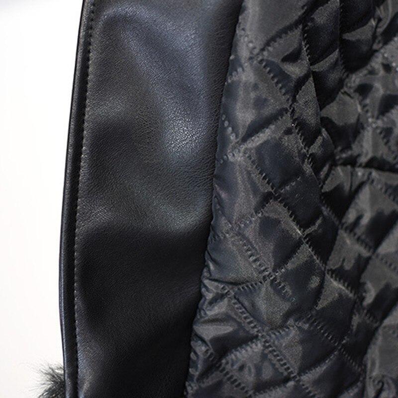 2019 D'hiver Femme Faux Vestes Femmes Cuir Black Manches Fourrure À Pu Mode Marée Veste E070 Renard De En Longues Patchwork Courte Vêtements qw6UxpTFq