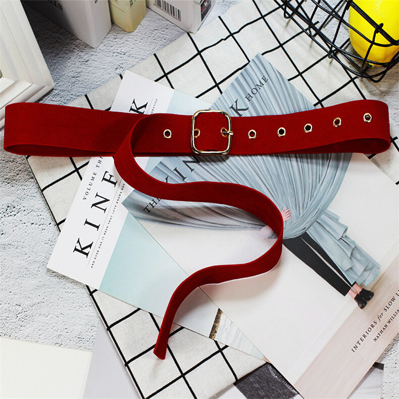 Square Buckle Girdle Women Suede Long Belt Woman Solid Color Pin Buckle Belts Lady Wide Waist Belts Casual Decorations