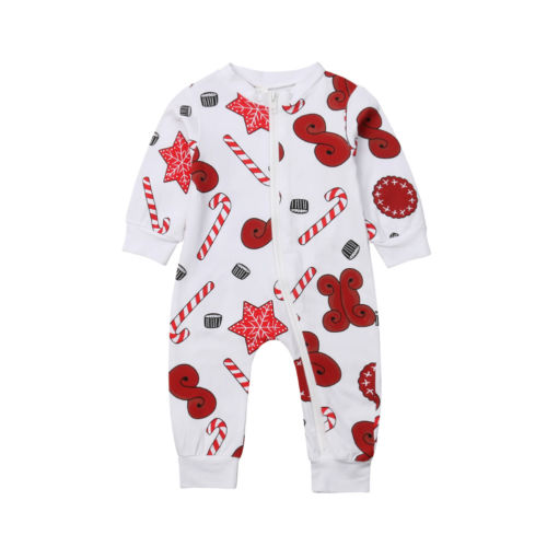 d92de54f34e Christmas Baby Girls Zipper Long Sleeve Romper Jumpsuit Clothes Outfits  Size 0-24M