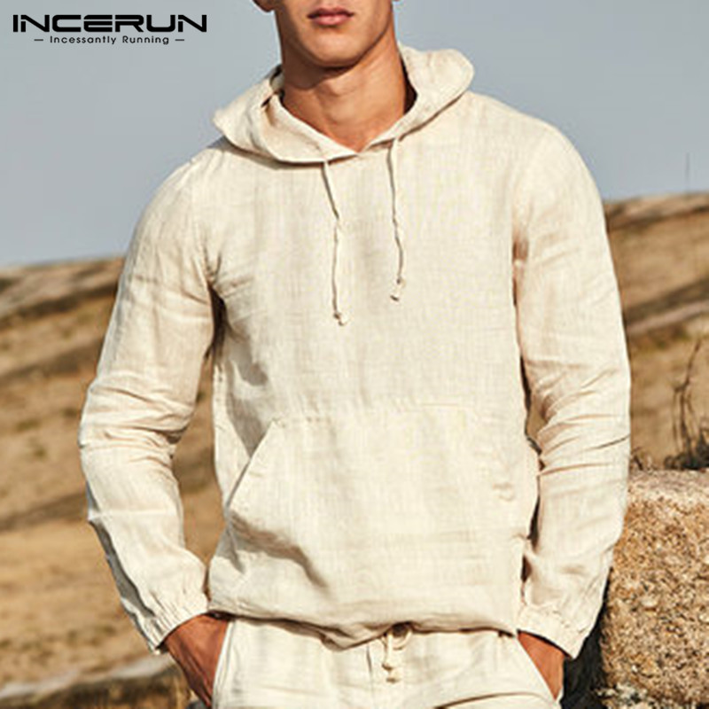 2020 Fashion Hoodies Men Pullover Sweatshirts Long Sleeve Solid Autumn Male Tops Outwears Masculino Hoody Button Crew Neck 3XL