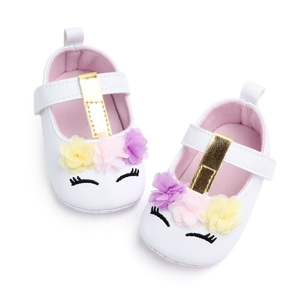 2019 Brand New Toddler Baby Girls Flower Unicorn Shoes PU Leather Shoes Soft Sole Crib Shoes Spring Autumn First walkers 0-18M 5