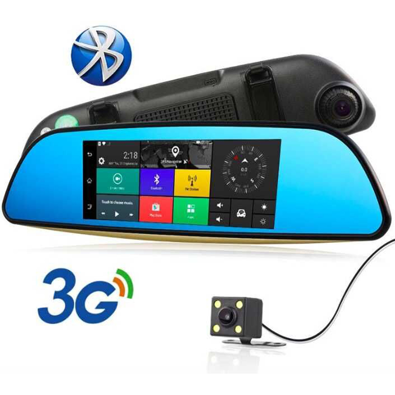 3G GPS navigation Car DVR 7 16G Touch screen Car camera Android 5.0 Bluetooth Wifi Rearview Mirror Dash Cam Car Video Recorder