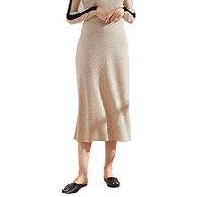 2018 Autumn And winter knitting Skirts Woman High Waist Long sexy buttocks Woolen Knitting 8207