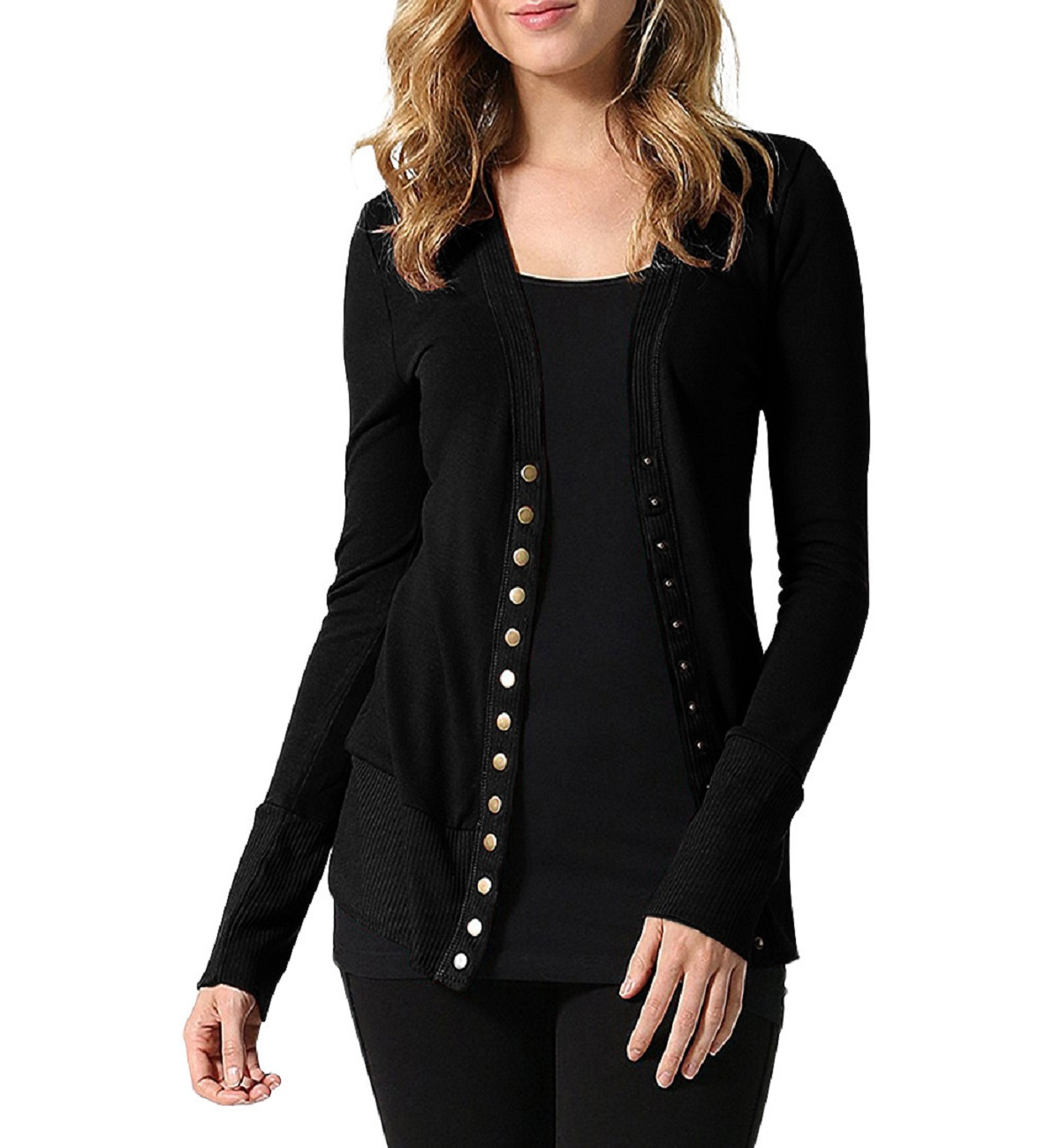 Plus Size Autumn Solid Knitted Cardigan Sweater Women Casual Long Sleeve Straight Bottom Wearing Button Sweater Stretch Cardigan