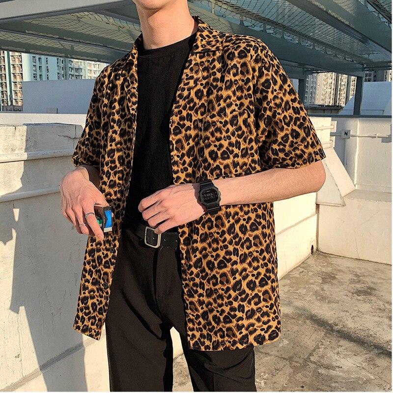 Summer New Leopard Shirt Men Fashion Printed Casual Short sleeved Shirt Man Streetwear Loose Trend Wild Dress Shirt Male