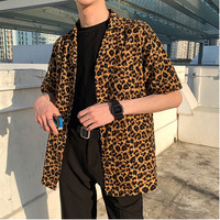 Summer New Leopard Shirt Men Fashion Printed Casual Short sleeved Shirt Man Streetwear Loose Trend Wild Dress Shirt Male