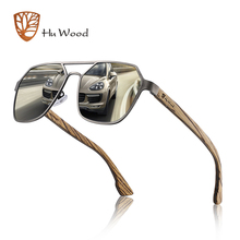 Hu Wood Sunglasses Men Polarized Red Lens Handmade Fashion Brand Cool UV400 High Quality Driving with Case Oculos GR8039