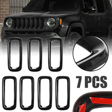 For Jeep Renegade 2015-2018 7pcs Durable ABS Plastic Front Grill Grille Insert Cover Trim Frame Mayitr