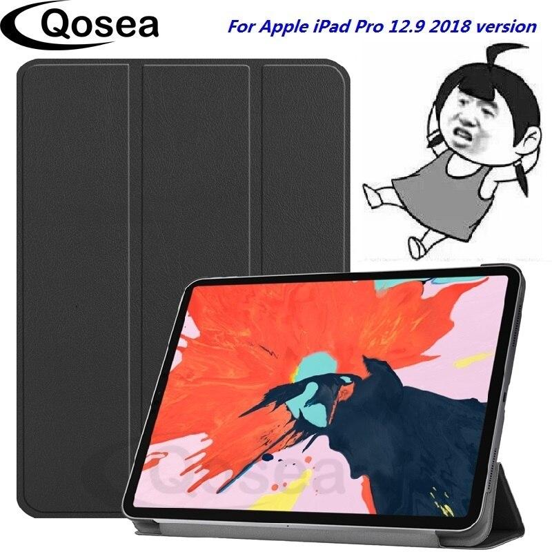 Qosea Nouveau Pour ipad pro apple 12.9 2018 PU En Cuir support intelligent Cas Pour ipad pro apple 12.9 2018 Tablet protection pour pc Couverture de Stand