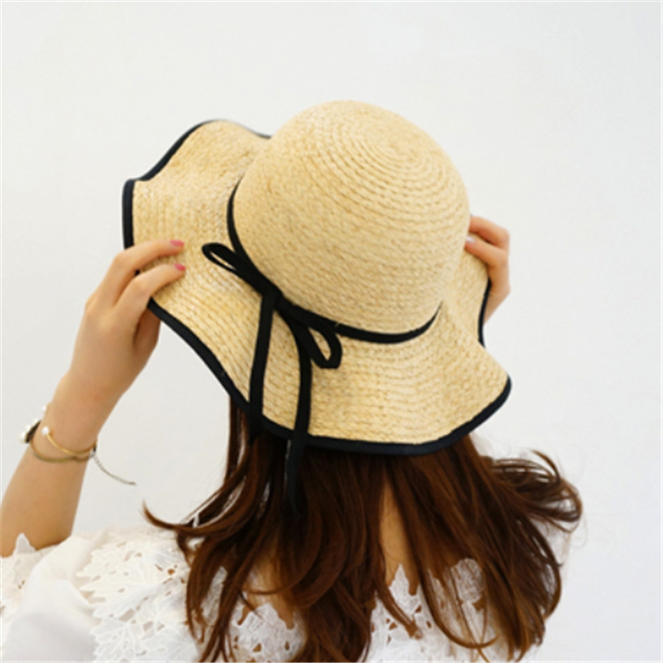 Korea Pull Phenanthrene Straw Hat Woman Sweet Lovely Black Package Edge Bow Dome Sunscreen Sun Hat You in Women 39 s Sun Hats from Apparel Accessories