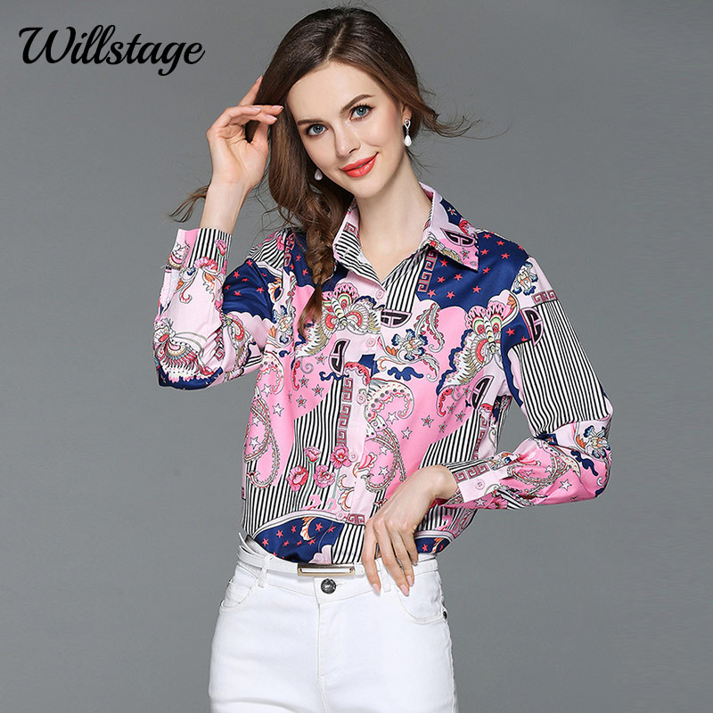 Willstage 2019 Autumn Colorful Shirt Women Blouses Long Sleeve Pink Shirts Turn Down Collar Formal Office Ladies Top High Qualiy