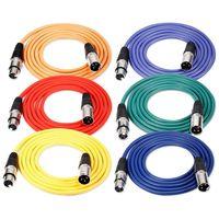 6 шт. 6,5 футов/2 м кабель для микрофона XLR кабель для мужчин XLR Женская Кожа Резина змеевидный шнур баланс 6 цветов (зеленый синий Purp