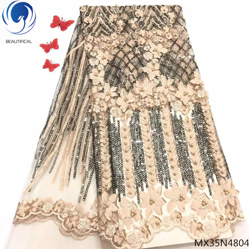Beautifical pearls sequin beaded lace fabric african embroidery fabrics with flowers unique pattern for party dress MX35N48