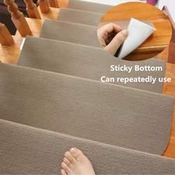 14 almofadas da escada dos pces 20x45cm marrom/bege anti-deslizamento almofadas da escada tapete fundo pegajoso repetidamente-use