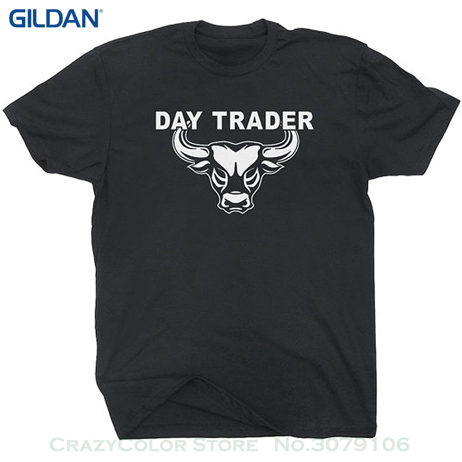 Mens Short Sleeve Tees Day Trader T Shirt Wall Street Mad Stock Market Trading Cramer Money Tee Bull Bear Jim image