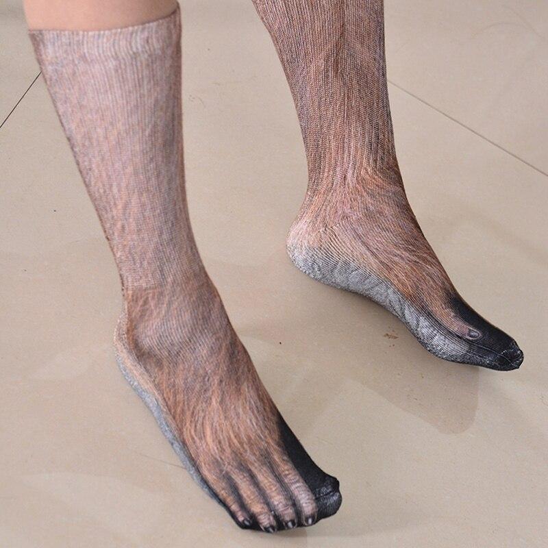New 3D Animal Feet Socks Unisex Men Women Adult Animal Paw Crew Socks Printed Cotton Сникеры