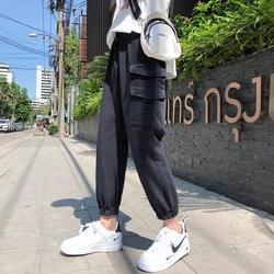 2019 Досуг оригинальный эластичный пояс Джинсы мужские штаны-карго нейтральные повседневные потертые большие карманы свободные черные