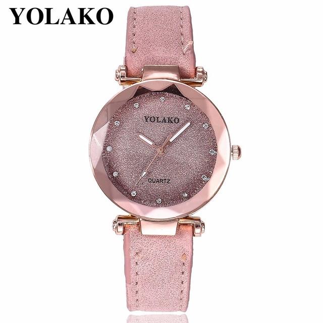 Dropshipping Women Romantic Starry Sky Wrist Watch Leather Rhinestone Designer Ladies Clock YOLAKO Brand Relogio Feminino