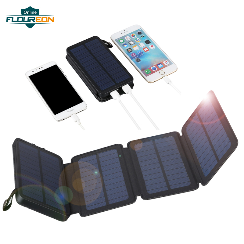 Floureon Solar Power Bank with LED Light 10000mAh Portable Phone External Battery Pack Solar Power Charging InputFloureon Solar Power Bank with LED Light 10000mAh Portable Phone External Battery Pack Solar Power Charging Input