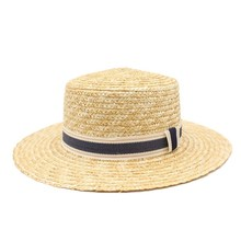 2019 Wide Brim Boater Hat 10cm 9cm Brim Straw Hat Flat Women Summer Kentucky Derby Hat White Black Ribbon Tie Sun Hat Beach Cap chic black ribbon embellished summer straw hat for women