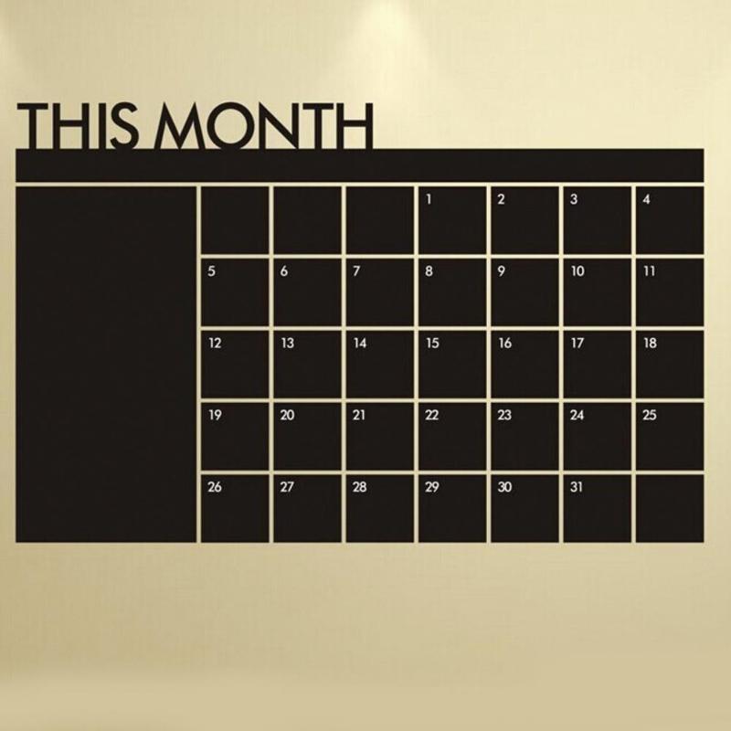 92*60cm Month Calendar Chalkboard Blackboard Removable Planner Wall Stickers Black Board Office School Vinyl Decals Supplies