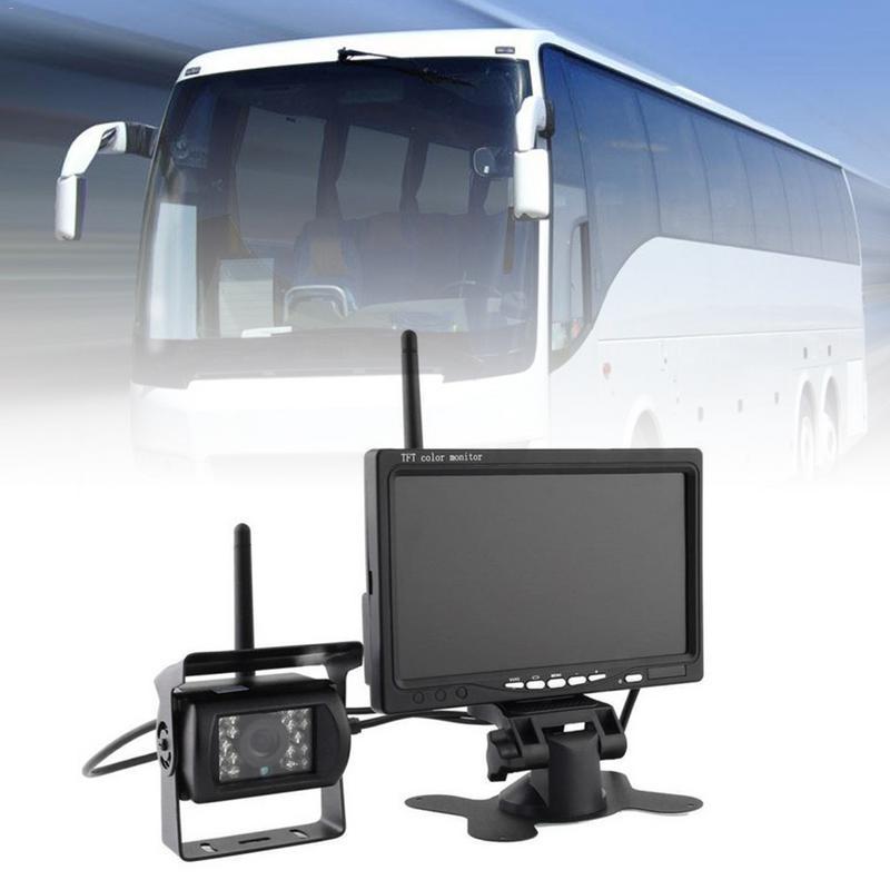 Wireless LED Reverse Reversing Camera IR Night Vision 7 Car Monitor For Truck Bus Caravan RV