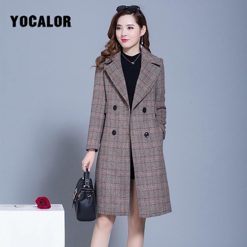 2019 Female Plaid Overcoat Coats Womens Windbreakers Autumn   Trench   Coat For Women Wool Long Cape Manteau Femme Cloak
